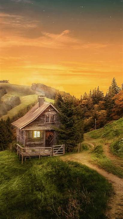 Iphone Forest Cottage Autumn 6s Wallpapers Clipart