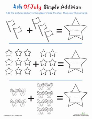 addition 4th of july stars worksheet education com