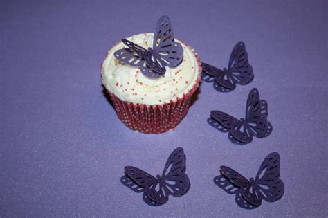 3d Edible 24 Cadbury Purple Butterflies Cup Cake Toppers