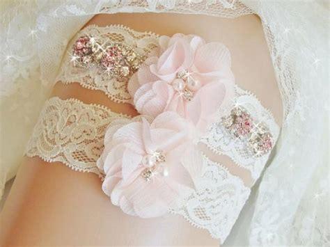 Jeweled Lace Wedding Garter Set, Bridal Garter, Blush