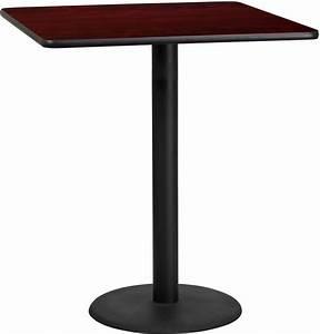 "36"" Square Mahogany Laminate Table Top with 24"" Round Bar ..."