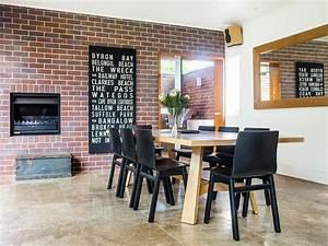 deco salle a manger avec mur brique 50 idees originales With idee deco cuisine avec salle a manger style contemporain