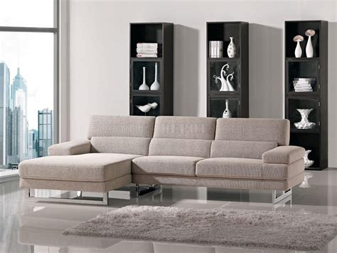 Home Sectional Sofa by Beige Fabric L Shape Modern Sectional Sofa W Metal Legs
