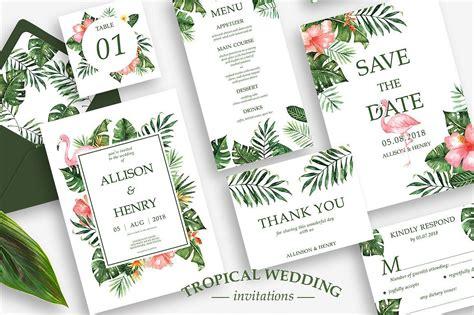 tropical wedding invitation suite downloadfreeziplink