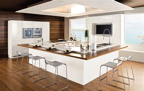 Sober Wooden Floored White Kitchen Design Stylehomes