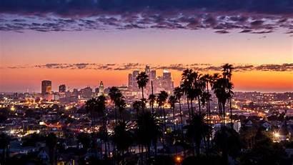 Angeles Los California Skyline Palm Night Downtown