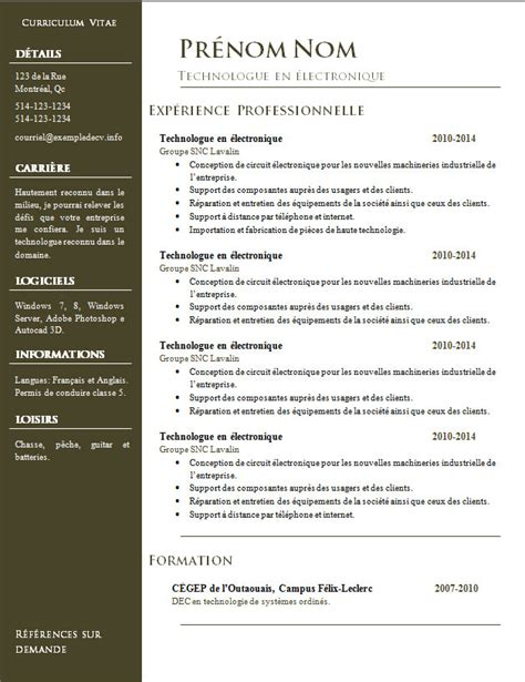 Les Modeles Des Cv by Mod 232 Les De Cv 832 224 838 Exemple De Cv Info