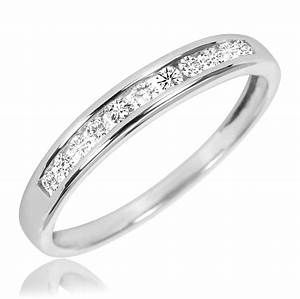 1 1 2 ct tw diamond trio matching wedding ring set 10k With matching wedding rings white gold