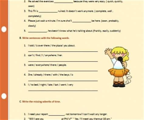 adverbs  manner place  time worksheet