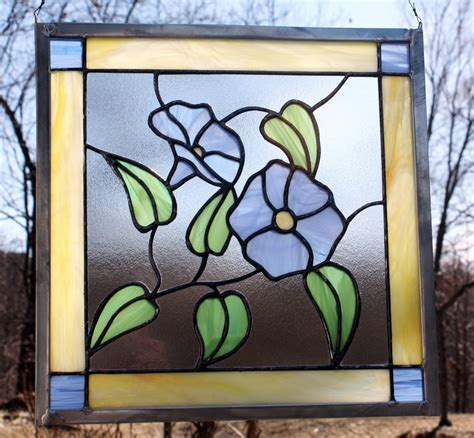 stained glass decor morning glory stained glass panel window decor blue by berlinglass
