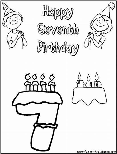 Coloring Birthday Pages Happy Printable Colouring Seventh