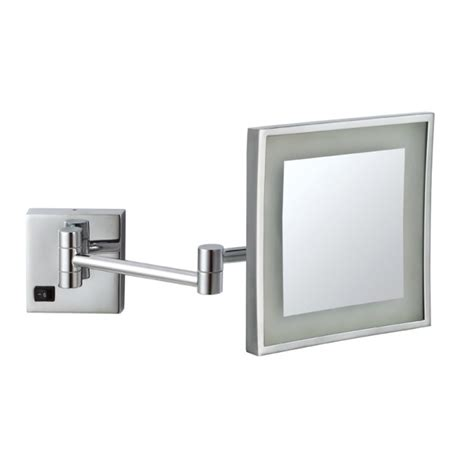 square wall mounted make up mirror led light 3x