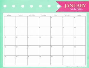 Free - January 2015 Calendar Cute