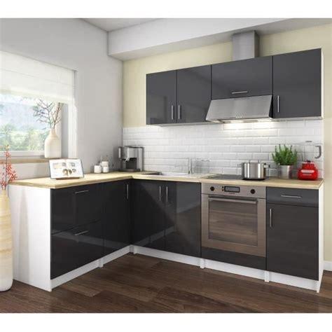 cuisine couleur aubergine cosy cuisine complète angle gauche 2m80 laqué gris haute