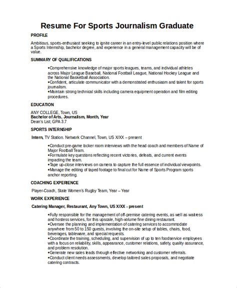 Journalism Resume Exles by Journalist Resume Template 5 Free Word Pdf Document