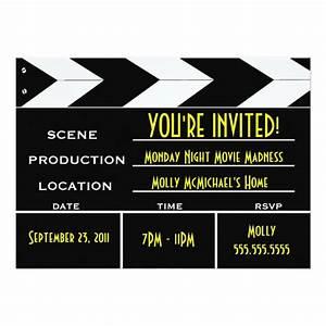 movie clapper board custom invitation zazzlecom With film premiere invitation template