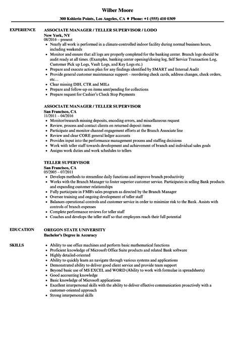 Teller Supervisor Resume Samples  Velvet Jobs