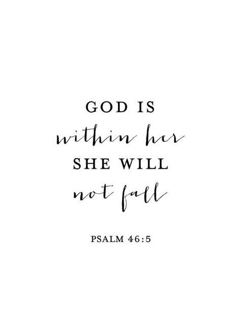 God is Within Her She Will Not Fall Print - Psalm 46:5 - Psalm Print - Bible Verse Print - Bible