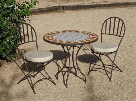 conjunto de mesa redonda sillas de jardin mosaico