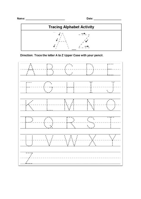 tracing alphabet worksheet kids learning activity