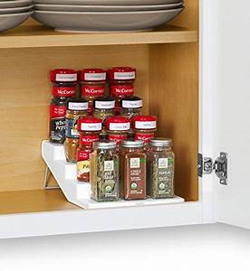 youcopia spicesteps 4 tier cabinet spice rack organizer With best brand of paint for kitchen cabinets with sticker labels for bottles