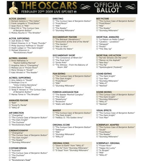oscar ballot printable oscar ballot freepsychiclovereadings