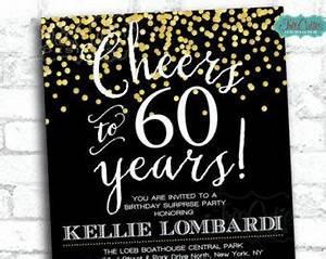 80th Birthday Invitation Sayings Cheers To 60 Years 60 Birthday Invitation Gold