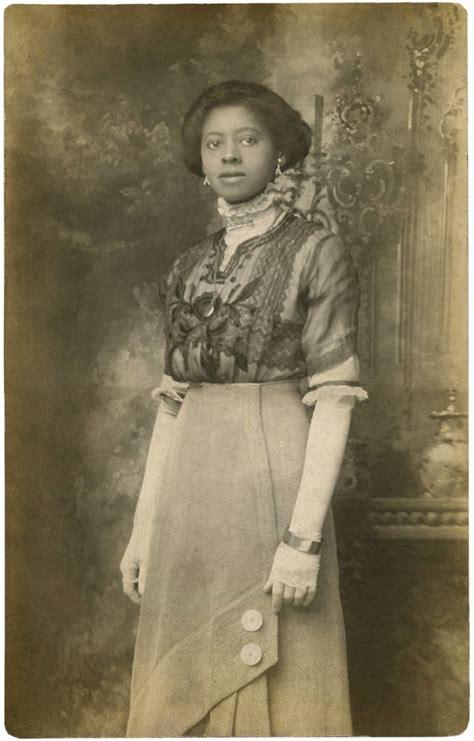 beautiful black edwardian lady rare  photo