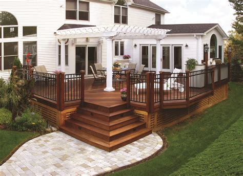 Wooden Porch Ideas by Wood Deck With Pergola And Paver Walkway Archadeck