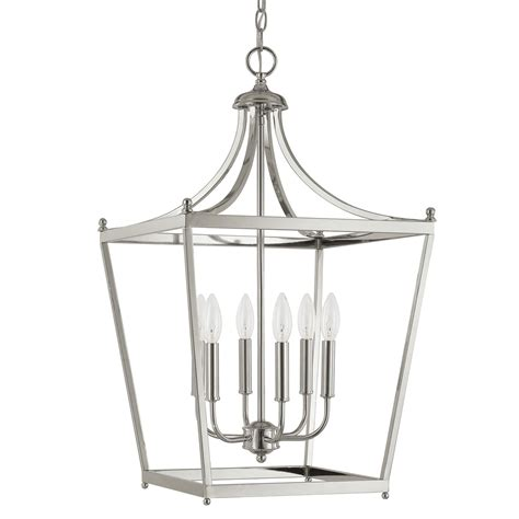 stanton polished nickel six light foyer pendant capital
