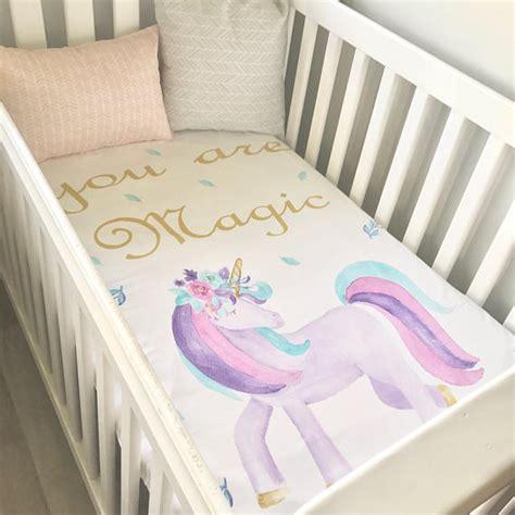 unicorn crib bedding baby cot crib quilt blanket you are magic watercolour