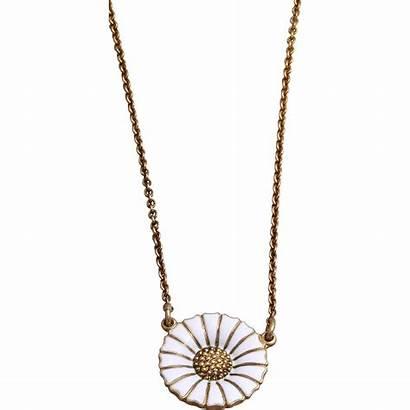 Jensen Georg Daisy Gold Enamel Necklace Silver