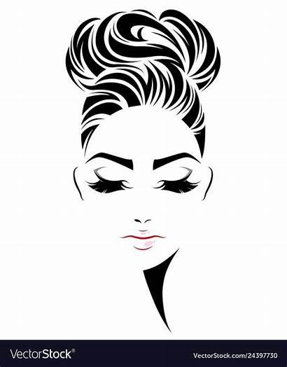 Bun Face Silhouette Icon Woman Drawing Vectorstock
