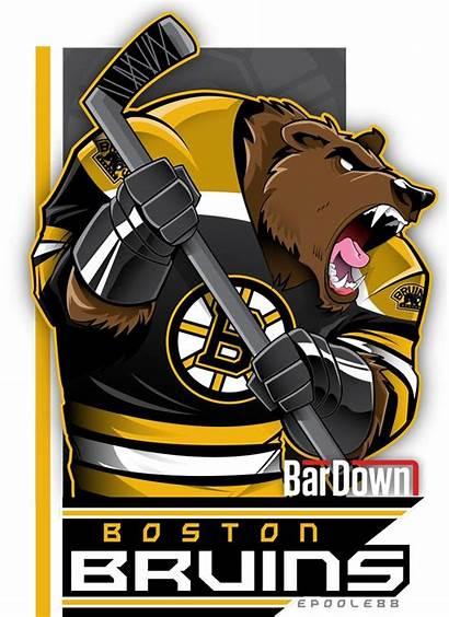 Bruins Boston Nhl Hockey Cartoon Logos Teams