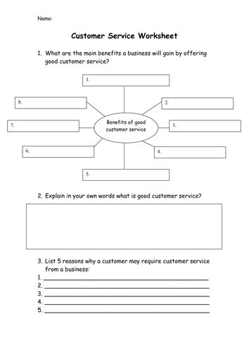 customer service operations ppt worksheet gcse
