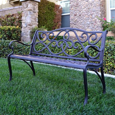 Innova 4 Ft Scroll Cast Aluminum Bench  Outdoor Benches