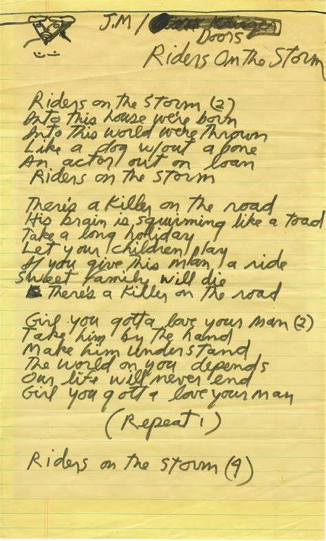 the end doors testo jim morrison of the doors handwritten lyrics for riders