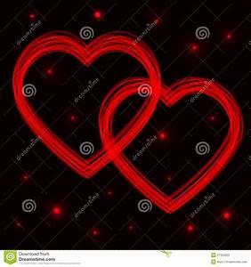 Two Neon Vector Hearts. Abstract Background Stock ...