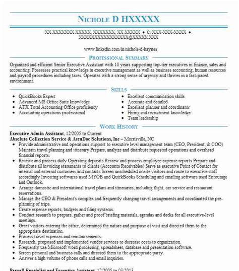 resumes for top executives best executive assistant resume exle livecareer