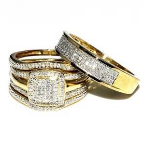 matching wedding band sets trio wedding rings set bridal set 3 and mens wide wedding band 0 78ct w 10k yellow gold