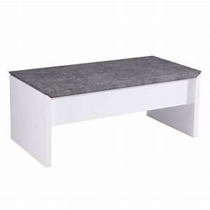 Table Basse Blanc Gris : table basse relevable laqu blanc et gris b ton open stone achat vente table basse open ~ Teatrodelosmanantiales.com Idées de Décoration