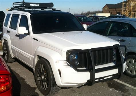stanced jeep liberty 2010 white jeep liberty with black grill rims grill