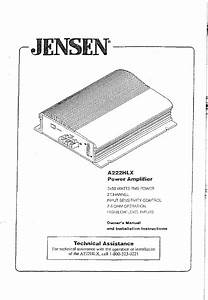 Jensen Stereo Amplifier A222hlx User Guide
