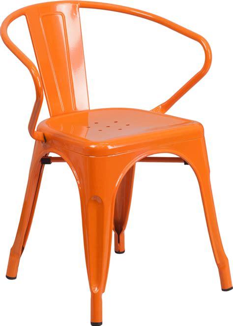 orange metal indoor outdoor chair with arms