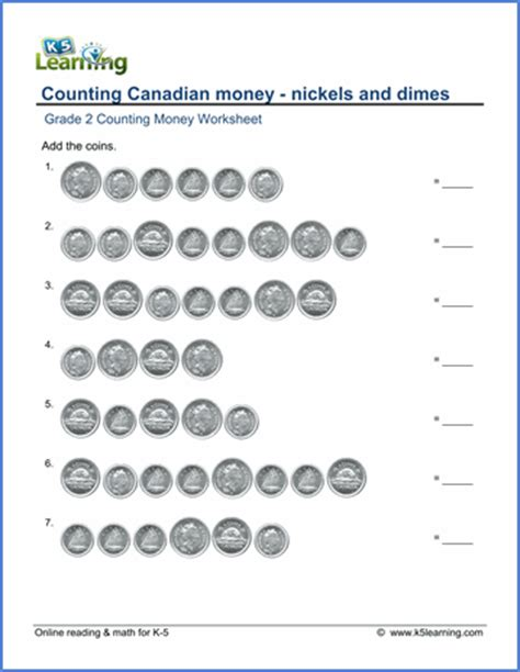 grade 2 counting money worksheet canadian nickels and