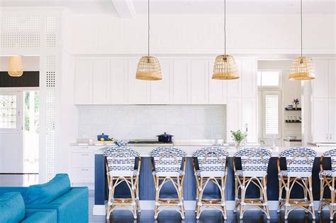 blue kitchen island  serena  lily riviera backless stools transitional kitchen