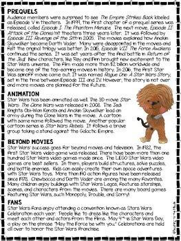 star wars inspired reading comprehension worksheet