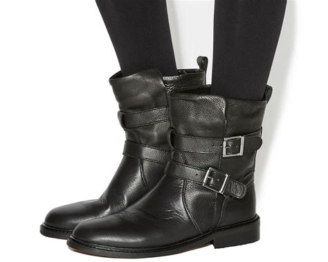 womens black biker boots womens office indicate buckle biker boots black leather