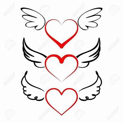 Wings Heart Clipart Cartoon Vector Angel Drawing