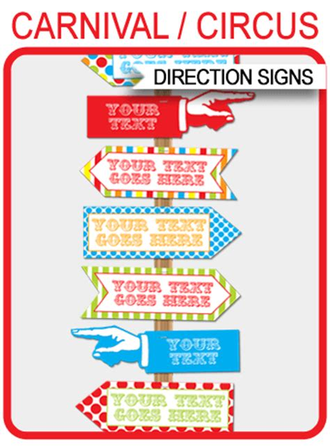 carnival directional signs arrows carnival party